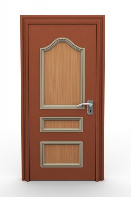 This solid wood door would help protect your home with the right hardware