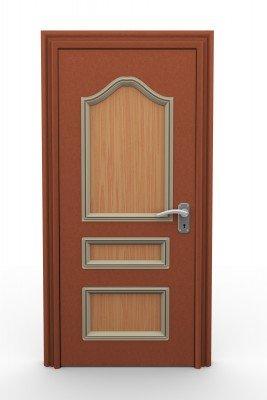 A wood residential security door